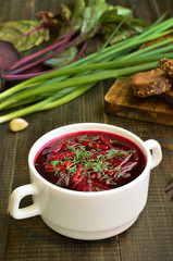 Vegetarian food. Red borscht soup