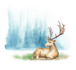 Watercolor foggy forest landscape. The deer on the lawn. Template for posters and postcards.