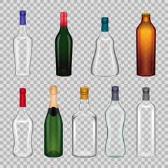 Realistic templates empty glasses bottles. Alcoholic beverage on transparent background.