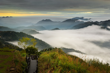 Colorful moody sunrise at Xiding.