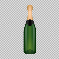 Realistic template empty beautiful glass champagne bottle with screw cap.