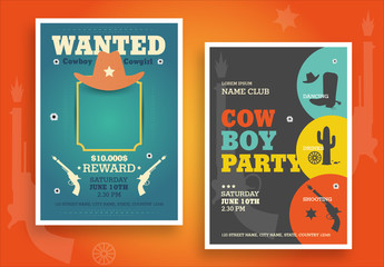 Western Themed Party Poster Layouts