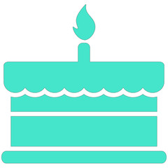 birthday cake with one burning candle vector icon