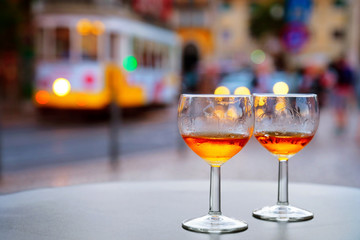 Port wine glasses at outdoor cafe of Lisbon, Portugal