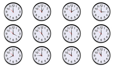 Set of round clocks showing various time. World clock, time zone. Vector illustration