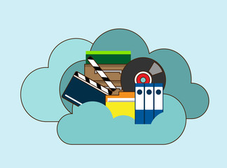 Cloud storage, folder with files of different formats. Document information, archive web, download and upload, flat vector illustration. Hand drawn cartoon vector illustration for business design