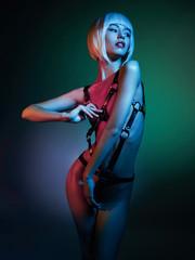 Beautiful nude body of sensuality elegant lady. Sexy blonde in night club