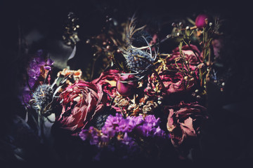 Bouquet of dried flowers. Dark floral background