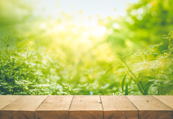 Wood table top on blur of fresh green abstract from garden backgrounds.For montage product display or key visual layout