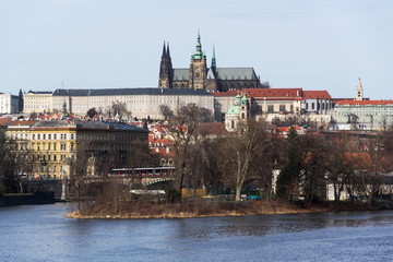 Prague panorama with Vltava River, St. Vitus Cathedral and Prague Castle - the biggest ancient castle in the world and residence of the president, Czech Republic