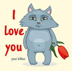 sweet Declaration of love. the cat holds in its paws a flower. vector illustration