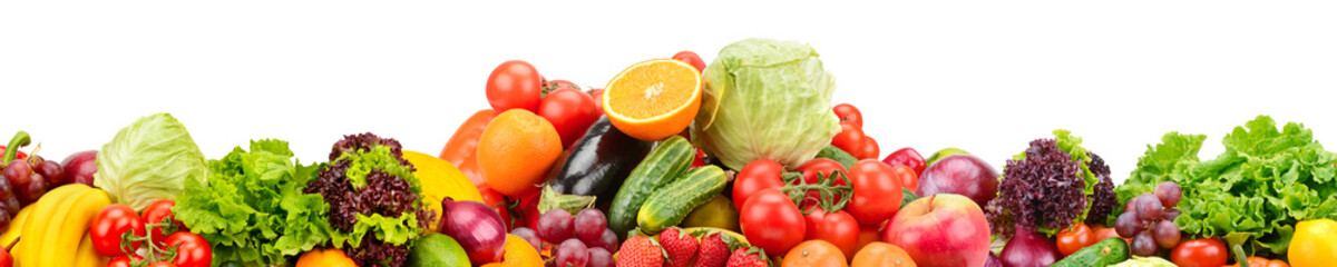 Panorama of fresh fruits and vegetables useful for health isolated on white background.