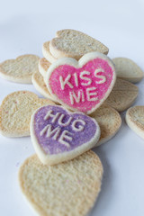 sugar cookie hearts with messages in pastel colors