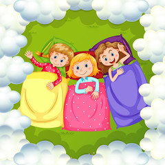 Three girls sleeping on grass