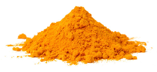 turmeric powder isolated on the white background