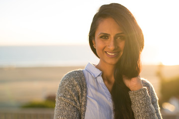 Young Indian woman smile happy face