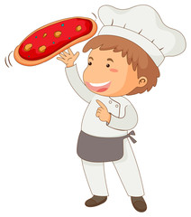 Italian chef making pizza