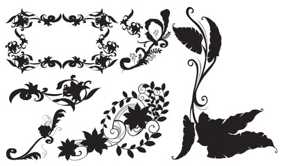 Different design for silhouette flowers