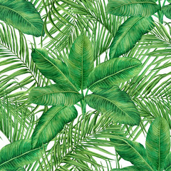 Watercolor painting coconut,palm leaf,green leave seamless pattern background.Watercolor hand drawn illustration tropical exotic leaf prints for wallpaper,textile Hawaii aloha jungle style pattern..