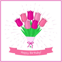 Bouquet of seven pink tulips against a background of rays. Pink ribbon with a birthday.