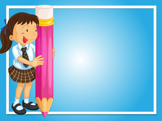 Frame design with girl and giant pencil