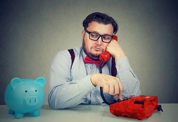 Bank worker having phone call