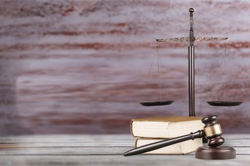 Justice Scales, gavel and books