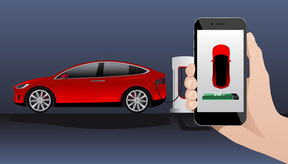 Hand with phone on a background of electric car charging point. On a divice screen indicator of power reserve. Vector illustration