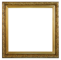 Old vintage golden frame on a white background, isolated