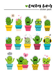 Sticker pack with cute cactuses in bright colored pots. Cartoon style emotion icons or patches or pins on white isolated background.