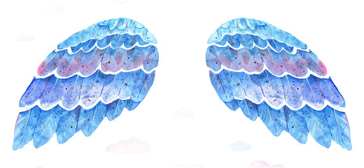 Hand drawn blue watercolor wings