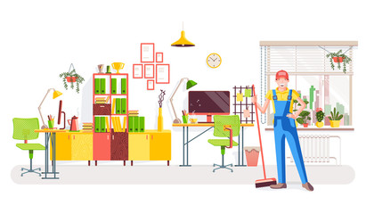 Office cleaning. Worker in uniform with a broom on the background of the office interior with a view of the window with flowers, work desks and a bookcase with books and awards. Vector illustration.