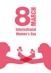 International Women's Day. Silhouettes of women with outstretched arms holding bouquets of flowers. Main title March 8.
