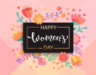 Card for happy women's day in square black frame on geometric background pastel colors with beautiful flowers. Vector illustration template, banner, flyer, invitation, poster.
