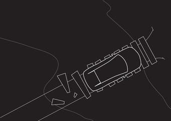 SUV Top On Bridge Vector Illustration
