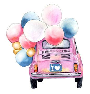 Pink car. Watercolor sketch