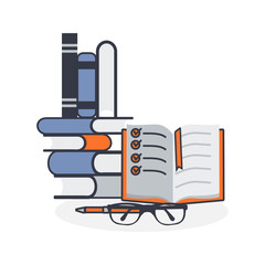 A pile of books with a pen and glasses vector illustration. Colored flat outline style.