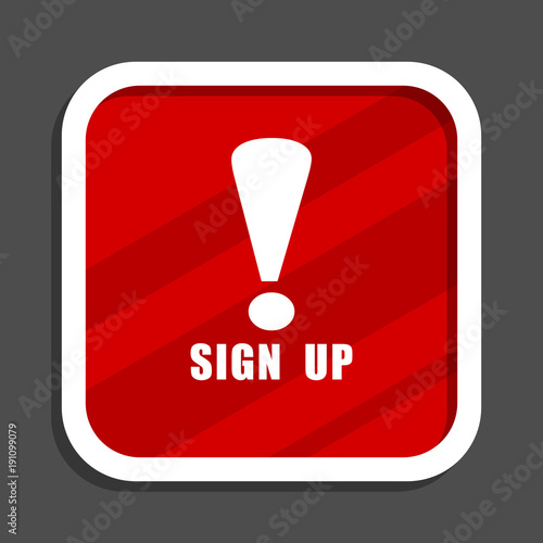 Sign Up Icon Flat Design Square Internet Banner Stock Photo And