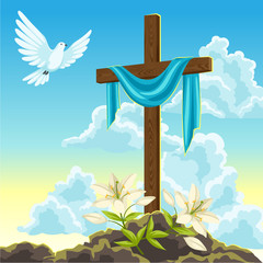 Silhouette of wooden cross with shroud, dove and lilies. Happy Easter concept illustration or greeting card. Religious symbols of faith against sunrise sky