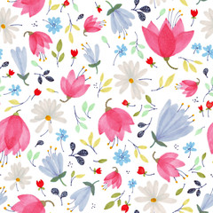 Beautiful pattern in small abstract flower. Small colorful flowers. White background. Small cute simple spring flowers.