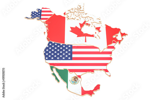 North america map with flags of the USA, Canada and Mexico. 3D ...