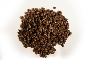 Isolated pile of fresh coffee beans