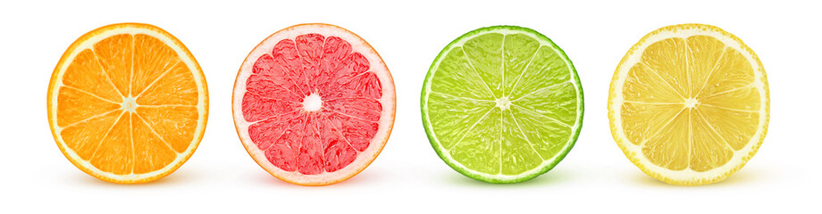 Isolated citrus slices. Fresh fruits cut in half (orange, pink grapefruit, lime, lemon) in a row...