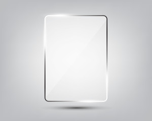Glass plate on gradient background.