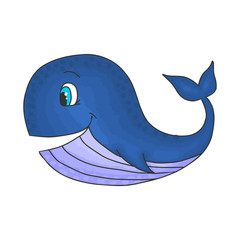 Cute smiling cartoon whale, vector illustration hand drawing