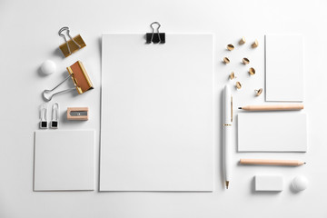 Blank items as mockups for branding on white background