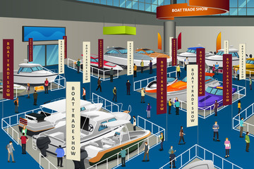People Attending Boat Show Illustration