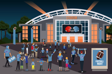 American Football Fans Going to Stadium Illustration