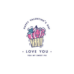 Happy Valentines day typography greetings. Love quotes. Sketch linear style illustration for Valentines day with love staff. Colorful icon.
