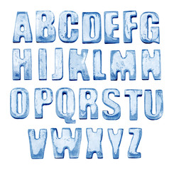 Ice Alphabet. Isolated on white. Real photos of frozen letters